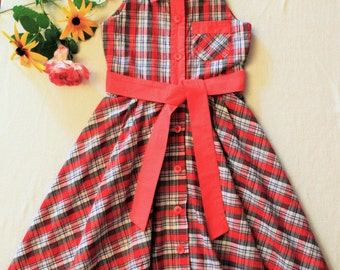 Cotton gingham pinafore dress, age 5/6 years