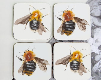 Set of 4 'Bumble Bee' coasters