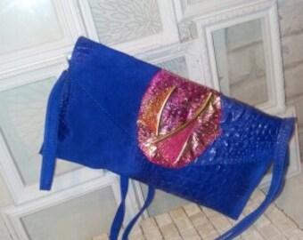 reall italian blue, rosy pink designer hand bag