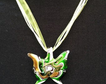Green, White & Gold Murano Glass Butterfly Pendant Necklace