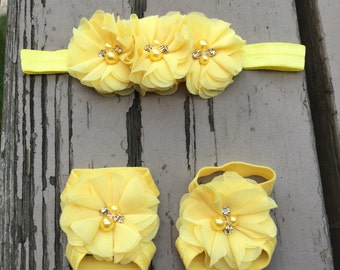 Barefoot sandals,headband,set,baby girl,photo prop, flower,yellow,ivory,blue,elastic,baby sandal,chiffon,floral,head band