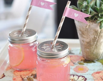Mason jars with flower cut lids- set of 12-mason jar flower lids favors, wedding favors, bridal shower favors, favor jars, flower lids