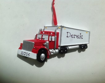 Personalized Semi Truck, Big Rig, TrailerBaby Boy's First Christmas Ornament - Newborn, 1st Birthday , Christening Favors, Hand Personalized