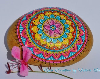 Roller hand - painted pink, yellow and turquoise Mandala / Hand painted pebble - pink, yellow and turquoise Mandala
