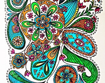 A4 drawing of colourful zentangle paisley garden