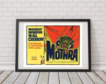 LARGE SIZE Vintage Movie Poster Mothra / Vintage Mothra/ Mothra Poster, Geeky Poster /Big Poster / Big Print / Large Poster / Large Print /