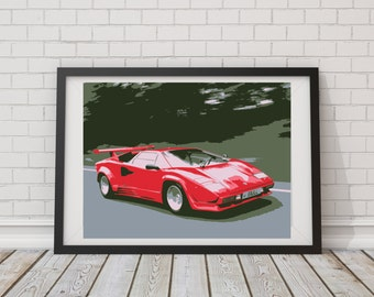 LARGE PRINT Lamborghini Countach / Lambo / Red Lamborghini / Sports Car Art / Man Cave Art / Super Car Art / Top Gear