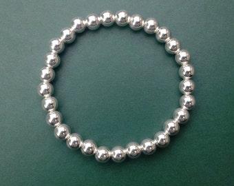 Sterling Silver Beaded Stretch Bracelet - Bead Bracelet - Silver Stacking Bracelet - Valentines Gift - Gift For Her - Stackable Bracelet -