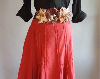 Vintage Rinascimento Skirt with Fabric Waist Flowers. Brick Red Calf Length Flared Cotton Skirt. Linea Cose Cosi, Made in Italy. Side Zipper