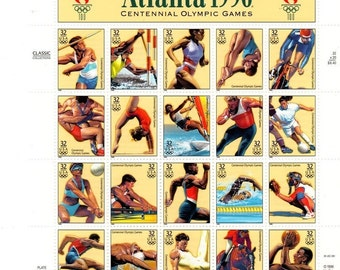 Vintage, 1996 USA Olympic Stamps, 20 Stamps, 32 cent Stamps,  Mint Condition, MNH, Full Sheet,