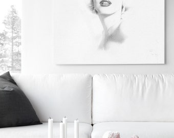Marilyn Monroe Decor - Hand Drawn Large Canvas Print - Diamond Dust Sparkle Glitter Glass - Fashion Illustration Fine Art