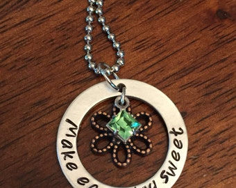 personalized hand stamped necklace, birthstone necklace