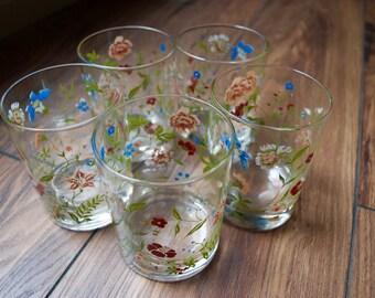 Vintage Floral Lowball Glasses Set of 5