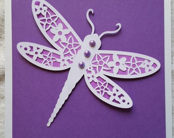 Handmade Dragonfly card
