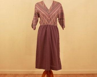 1970s Purple Striped Secretary Dress