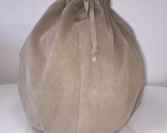 Taupe Suede Drawstring Backpack
