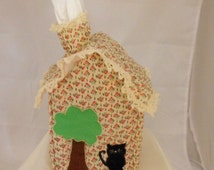House Tissue Box Cover with Chimney Cottage Cloth with Cat and Tree