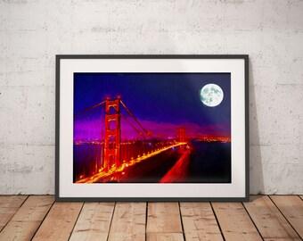 Golden Gate Bridge Print, San Francisco Painting, Moon