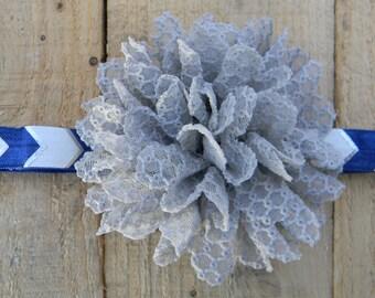 Navy Blue & Gray Headband, Large Flower Headband, Navy Silver Headband, Arrow Chevron, Baby Girl Headband, Girls Headband, Photo Prop