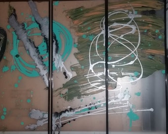 3 piece abstract [3] 8x20 painting