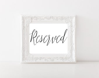 Reserved Sign Wedding - Reserved Table Sign - Reserved Wedding Sign - Reserved Row Sign - Reserved Chair Sign - Reserved Sign for Wedding