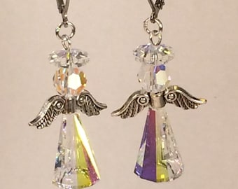 Swarovski Angel Earrings in Crystal Aurora Borealis