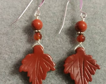 Jasper earrings with carnelian and sterling silver.