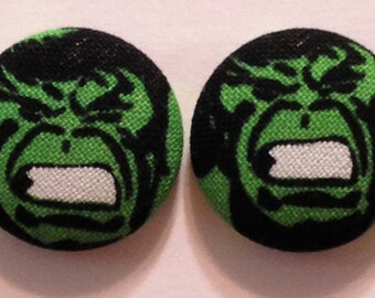 "7/8"" Fabric Covered Button Earrings"