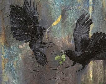 Original Raven Painting, Raven, Crow, Mix Media, SOMETHING BREWING