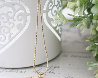 Gold Peach glass stone with gold lock charm necklace