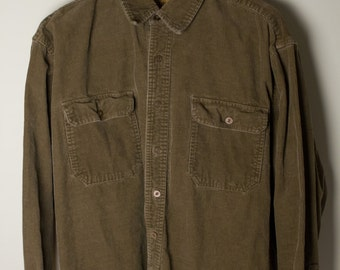 Brown Corduroy Long Sleeve Button Up