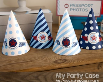 PARTY HATS, Vintage Airplane Birthday Party, Plane, Air force, Pilot, Fly me to the moon, DIY
