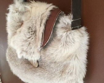 Rabbit Fur and Rose/Tan Suede Purse