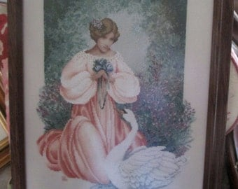 Lady Claire-Lavender & Lace-Framed Completed Cross Stitch