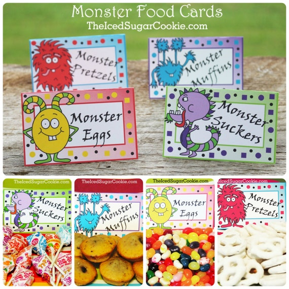 Monster Birthday Party Food Label Tent Cards-Printable