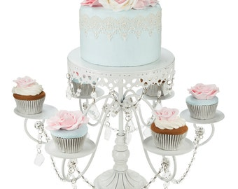 6+1 cake & cupcake stand in white