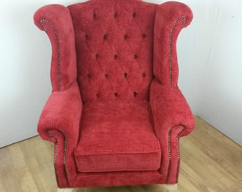 Red Velvet Queen Anne Style Wing Back Chair