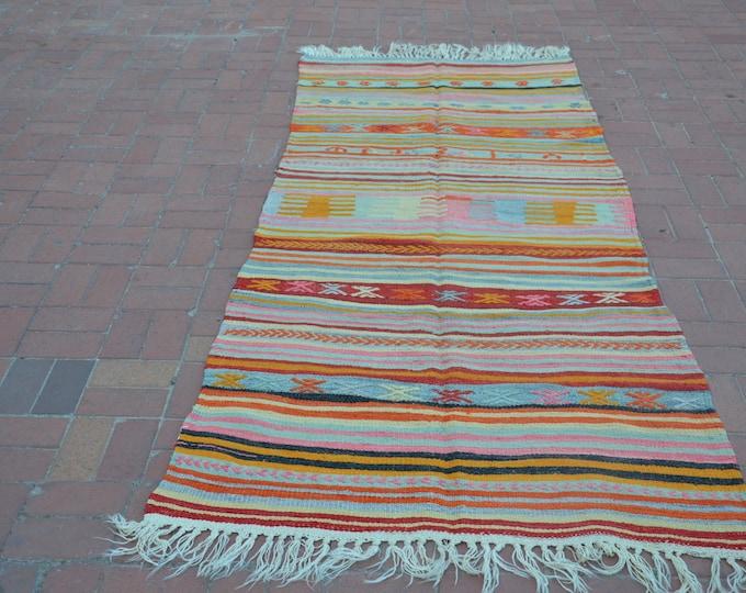 Pastel kilim rug, Anatolian rug, Boho vintage, Boho rug, Kilim rug, Tapis kilim, Turkish rug, Vintage turkish rug, Boho decor, Floor rug