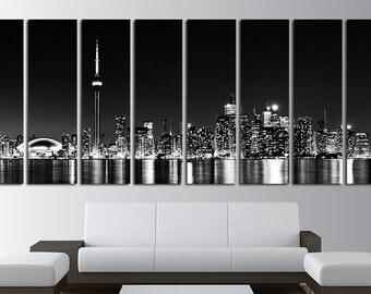 8 Panels Canvas Wall Art Set Toronto Skyline Toronto Canvas Toronto Photo Print Toronto Wall Decor Toronto Poster Wall Decor Toronto Skyline