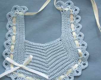 Baby Bib in Light Blue with White