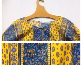 XXL Provencal Blouse Bright Yellow and Blue French Vintage