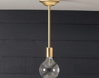 Brass Pendant Bare Bulb - UL LISTED
