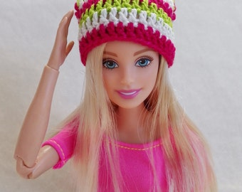 Colorful Barbie surf hat, green, pink and white slouchy hat