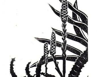 Linocut Art Card - Agave