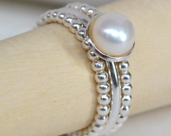 Freshwater Pearl (cupped setting) & Sterling Silver (beaded) stacking ring set. Pearl Ring. Pearl Stacking Ring. Recycled Sterling Silver.