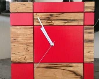 Designer Clock Red and Wood