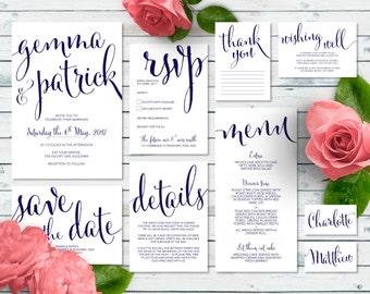 Printable Wedding Invitation Set | Toni Suite | Navy Wedding Invite | Wedding Invitations | Save the Date | RSVP | Wishing Well | Menu