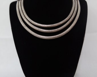 Vintage Oxidized Silver 3-Row Necklace