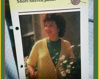 1985 Short Sleeved Jacket Sweater Pattern