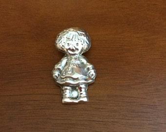 Silver Raggedy Ann Pendant
